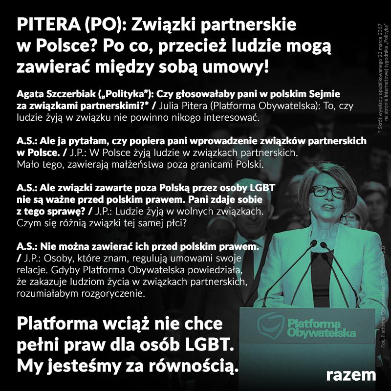 Ten wywiad Julia Pitera z Platforma Obywatelska dla Polityka trudno nawet skomen