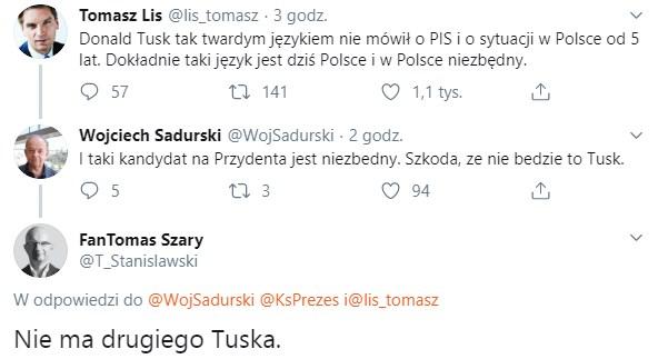 """powtórzmy tysiąc razy słowo """"Tusk"""", to może Tusk jednak się zjawi i zbawi Polskę, naszą ojczyznę?"""