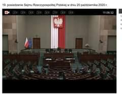 Image may contain: text that says '2k 3K 19. posiedzenie Sejmu Rzeczypospolitej Polskiej w dniu 20 października 2020 r. 4K 5K 6K 9K 11:06:32 R K'