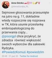 Image may contain: 1 person, text that says 'Anna Górska @AnnaGorska_PL Sejmowe głosowania przesunięte na jutro na g. 11, dokładnie wtedy rozpocznie się rozprawa w TK, która usunie przesłankę embriopatologiczną do przerwania ciąży... @pisorgpl chce przykryć, że zdradza również większość swoich wyborców dla sakiewki Rydzyka. #PowiedzKomuś #powiedzlm 20:48 21 paź 20 Twitter for Android'