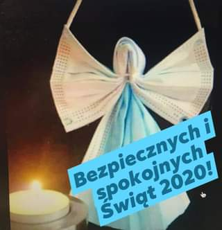 Image may contain: text that says 'Bezpiecznych Bezpiecznychi Bozpiszmyah spokojnych 2020! Świąt'