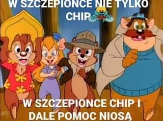 Image may contain: text that says 'W SZCZEPIONCE NIE TYLKO CHIP w SZCZEPIONCE CHIP I DALE POMOC NIOSĄ'