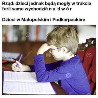 Image may contain: one or more people, text that says 'Rząd: dzieci jednak będą mogły w trakcie ferii same wychodzić n a dwór Dzieci w Małopolskim i Podkarpackim:'
