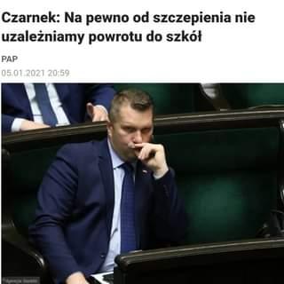 Image may contain: 1 person, text that says 'Czarnek: Na pewno od szczepienia nie uzależniamy powrotu do szkół PAP 05.01.2021 20:59'