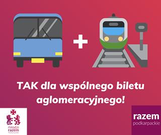 Image may contain: text that says '+ TAK dla wspólnego biletu aglomeracyjnego! młodzi razem Podkarpackie Podkarp razem podkarpackie'