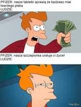 Image may contain: text that says 'PFIZER: nasze tabletki sprawią że będziesz miał twardego ptaka LUDZIE: Oe! 001 PFIZER: nasza szczepionka uratuje ci życie! LUDZIE: kwejk.pl'