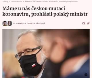 Image may contain: one or more people, text that says 'nás českou mutaci koronaviru, prohlásil polsky ministr Zpravy > Koronavirus Máme Máme u nás českou mutaci koronaviru, prohlásil polsky ministr FILIP HARZER, DANIELA PRÁDOVÁ'