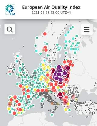 Image may contain: text that says 'EEA European Air Quality Index 2021-01-18 13:00 UTC+1 …'