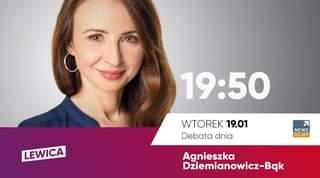 Image may contain: 1 person, closeup, text that says '19:50 50 LEWICA WTOREK 19.01 Debata dnia NEWS POLSAT Agnieszka Dziemianowicz-BÄk'