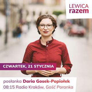 Image may contain: 1 person, text that says 'LEWICA razem CZWARTEK, 21 STYCZNIA posłanka 08:15 Radio Kraków, Gość Poranka'