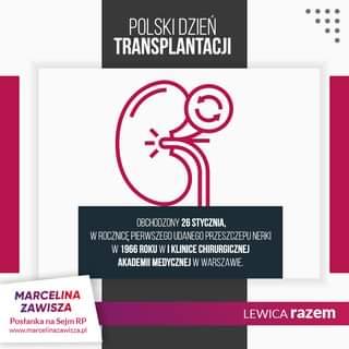 Image may contain: text that says 'POLSKI DZIEŃ TRANSPLANTACJI OBCHODZONY 26 STYCZNIA, WROCZNICĘ PIERWSZEGO UDANEGO PRZESZCZEPUNERKI 1966 ROKU W KLINICE CHIRURGICZNEJ AKADEMII MEDYCZNEJ W WARSZAWIE MARCELINA ZAWISZA Posłanka na Sejm RP www.marcelinazawisza.pl LEWICA razem'