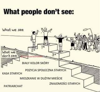 Image may contain: text that says 'What people don't see: What we see 1st What we don't see 2nd 3rd /czerwonobicH BIAŁY KOLOR SKÓRY POZYCJA SPOŁECZNA STARYCH KASA STARYCH MIESZKANIE w DUŻYM MIEŚCIE ZNAJOMOŚCI STARYCH PATRIARCHAT'