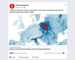 May be an image of text that says 'E The Economist Sponsored Poland is the only country in Europe to use more coal-derived energy for heating today than it did in 1990 ECONOMIST.COM Poland's coal-fired home heating creates widespread pollution You and 1,1K others Like Comment 294 comments 151 shares Share'