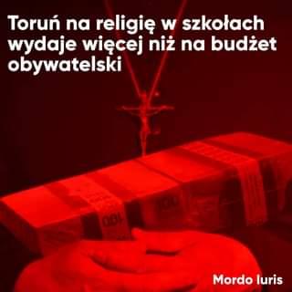 May be an image of text that says 'Toruń na religiÄ™ w szkołach wydaje wiÄ™cej niż na budżet obywatelski 100 00ι Mordo Mordoluris luris'