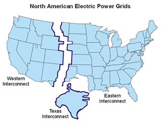 May be an image of map and text that says 'North American Electric Power Grids Western Interconnect Eastern Interconnect Texas Interconnect'