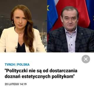"""May be an image of 2 people, people standing and text that says 'TVN24 POLSKA """"Polityczki nie są od dostarczania doznań estetycznych politykom"""" 20 LUTEGO 14:19'"""