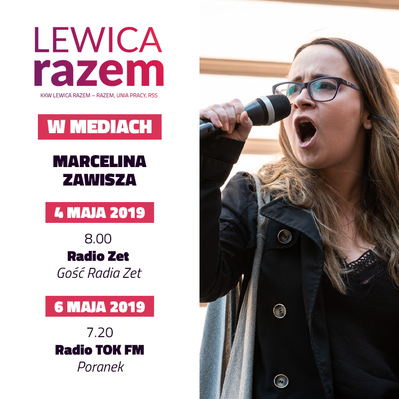 Marcelina Zawisza, liderka listy #LewicaRazem w województwach dolnośląskim i opolskim, będzie gościem: